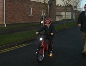 Charlie getting to grips with his new BMX